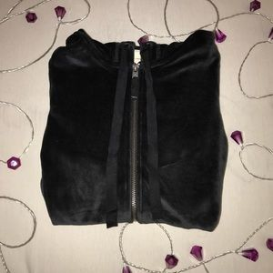 Hollister black velvet zip-up jacket